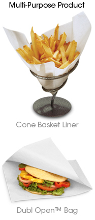 Grease Proof Cone Basket Liner White 171 Bagcraft